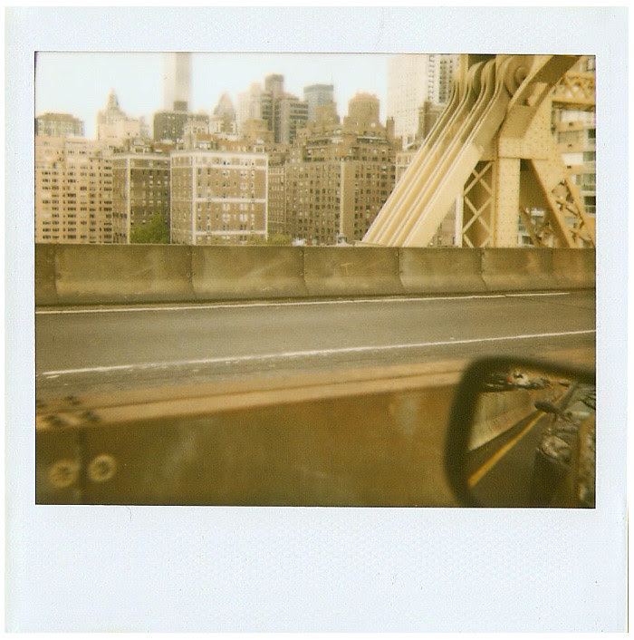 New York City Art Book Fair at PS 1 - return trip - Tim Thayer and Tara Thayer Polaroid on the Queensboro/59th Street Bridge