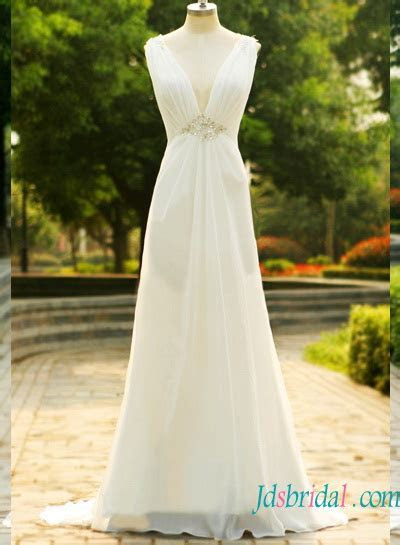 H1570 Cheap Simple plunging chiffon low back wedding dress