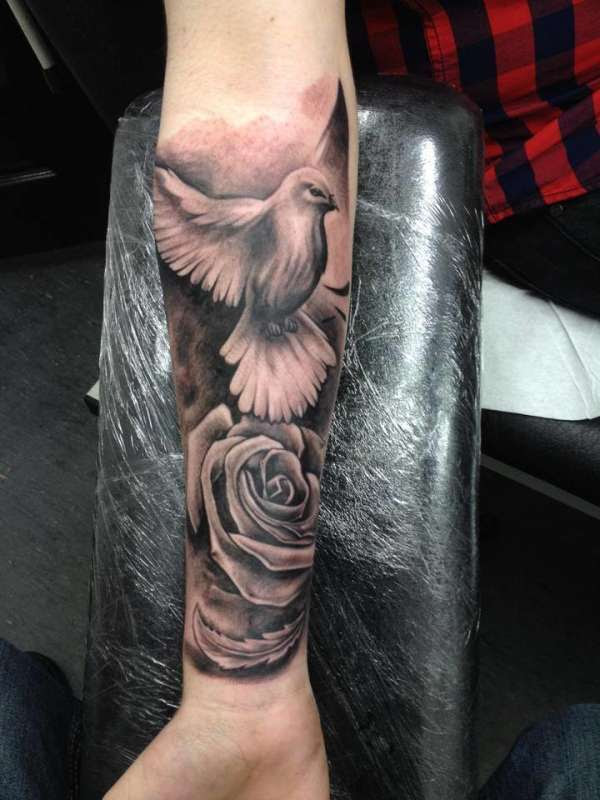 Dove Rose Black And Grey Realism Tattoo