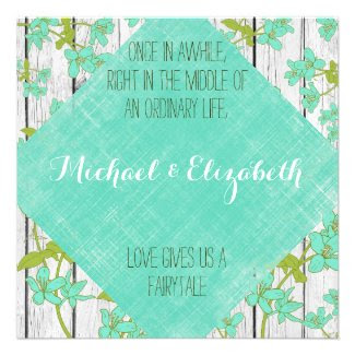 Rustic Wood and Floral with Quote Wedding Invites