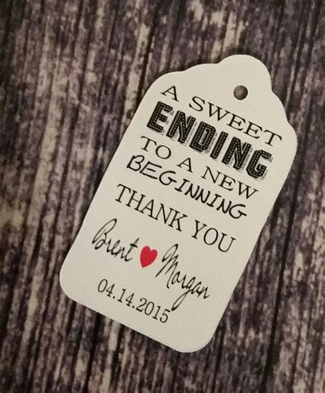 Sweet Ending to a new Beginning Thank You favor tag MEDIUM