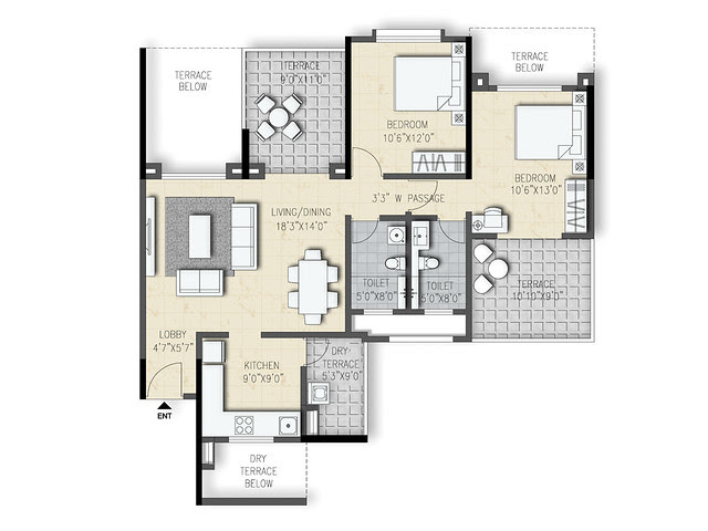 2 BHK Flat (Type 3) on even floors of Amit's Sereno, 2 BHK & 3 BHK Flats near Pancard Clubs, Baner Pune 411045