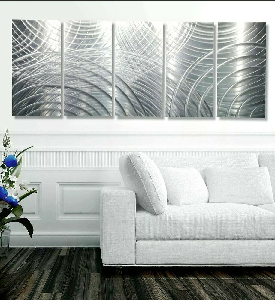 Large Modern Abstract Silver Corporate Metal Wall Art ...