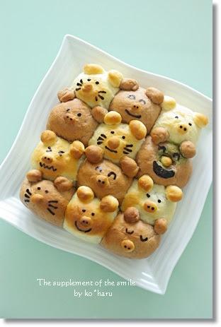 笑顔のサプリ動物ちぎりパン