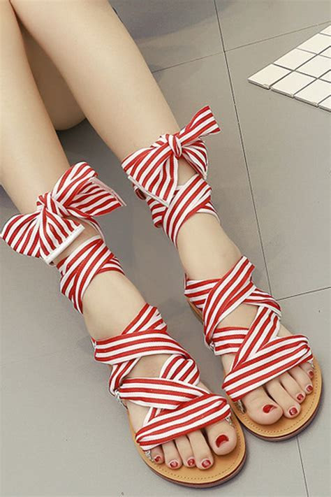Red White Striped Lace Up Strappy Flat Sandals #035865