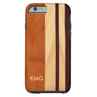 Beautiful Monogrammed Wood Stripes Pattern Tough iPhone 6 Case