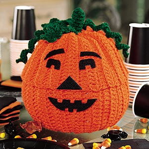 Crochet Jack-O'-Lantern Treat Jar Pattern