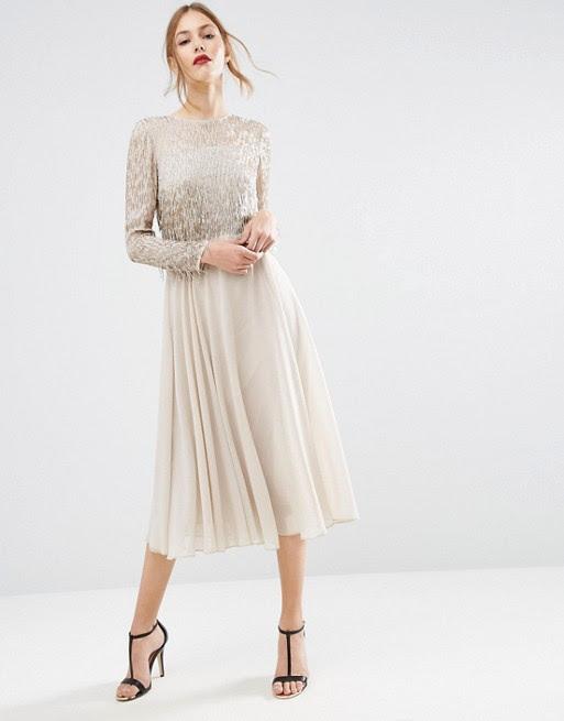 asos  asos embellished tassle long sleeve midi dress