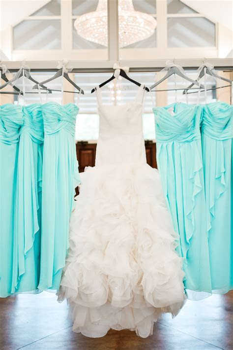 White by Vera Wang wedding gown and Tiffany blue