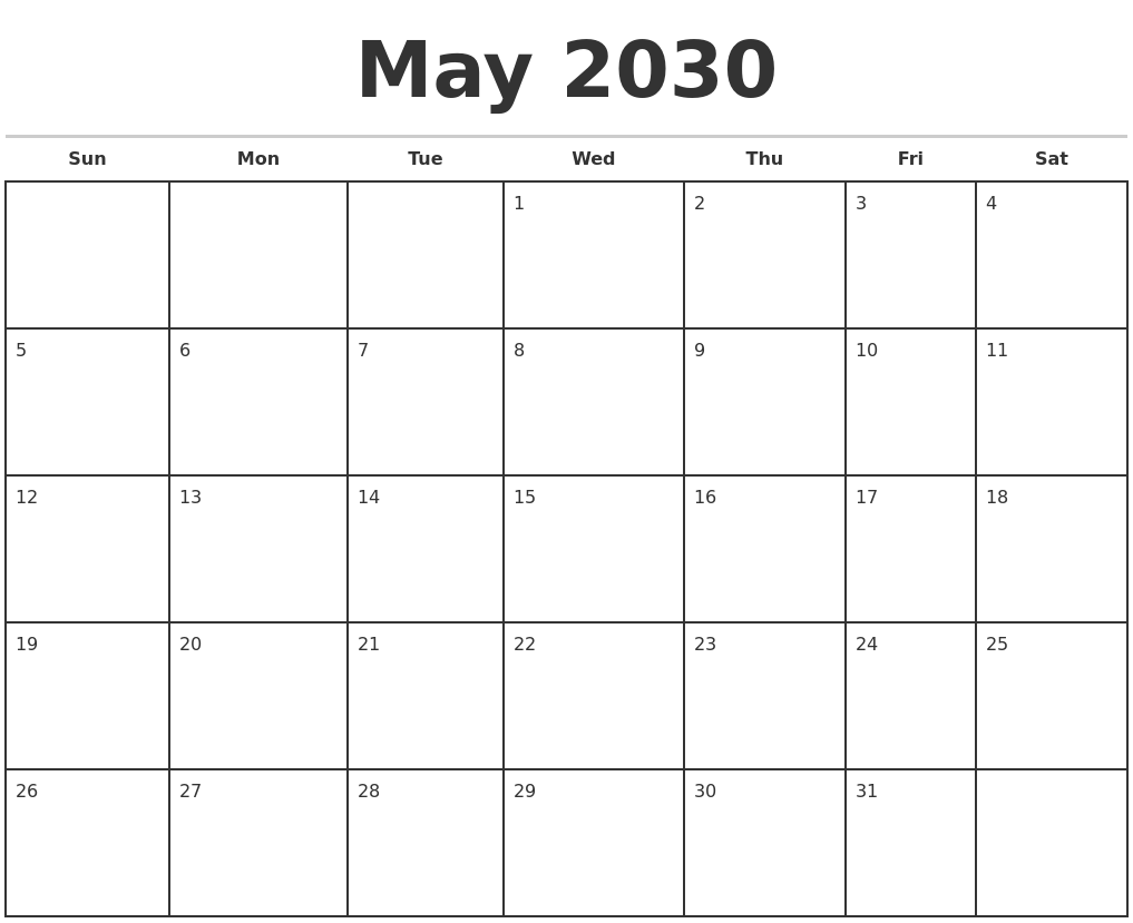 may 2030 monthly calendar template