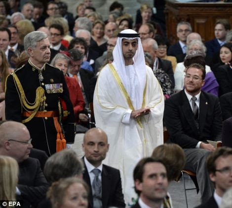 Sheikh Hamed bin Zayed al Nahyan (C) of the United Arab Emirates arrives for the inauguration