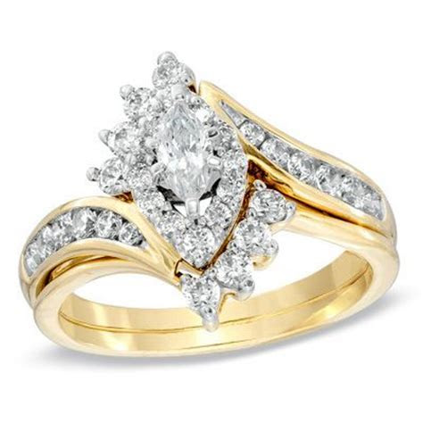 1 CT. T.W. Marquise Diamond Bypass Bridal Set in 14K Gold