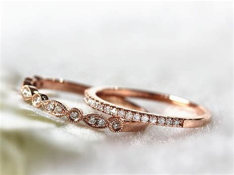 14K Rose Gold Ring Set Stacking Ring Stackable Band by