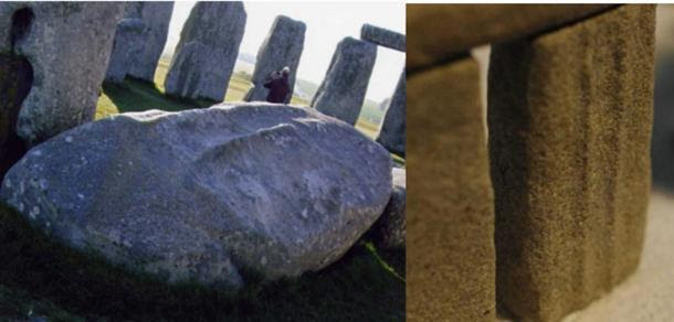 Stone 59 with 'The Parallels'. Left: Stone 59 today. Right: Replica of Stone 59 as it would have once stood.