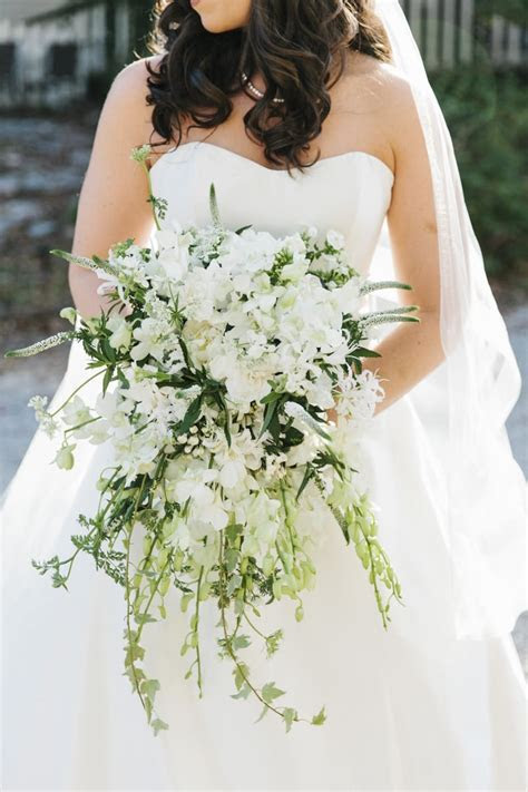 Cascading Bridal Bouquet & White Bridesmaids Bouquets: How