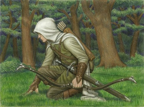 Great illustration that puts me in mind of the 100s of wonderful hours I spent during my middle school and high school years playing RPGs, especially Middle-Earth Role-Playing (MERP). sagenundlegenden's original comments:  Beleg Cuthalion byBrokenMachine86. Beautiful illustration in colored pencil. I wrote for Beleg for a Tolkien RPG, and he'll always have a softspot in my heart. Too fierce to stay in his protected forest when others were battling evil, he followed no captain but himself and could not be restrained in battle. In the end it was not his enemies who killed him, but a friend he would not abandon.