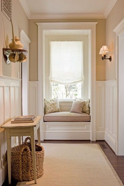 ivory and beige hall decor decorating interior design hallway with window