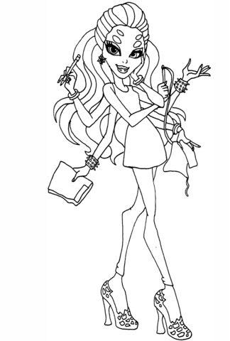 Monster High Wydowna Spider Coloring Page Free Printable Coloring
