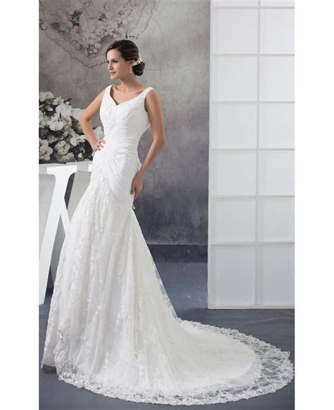 Custom Lace Mermaid Long Fitted Wedding Dress with Pleated