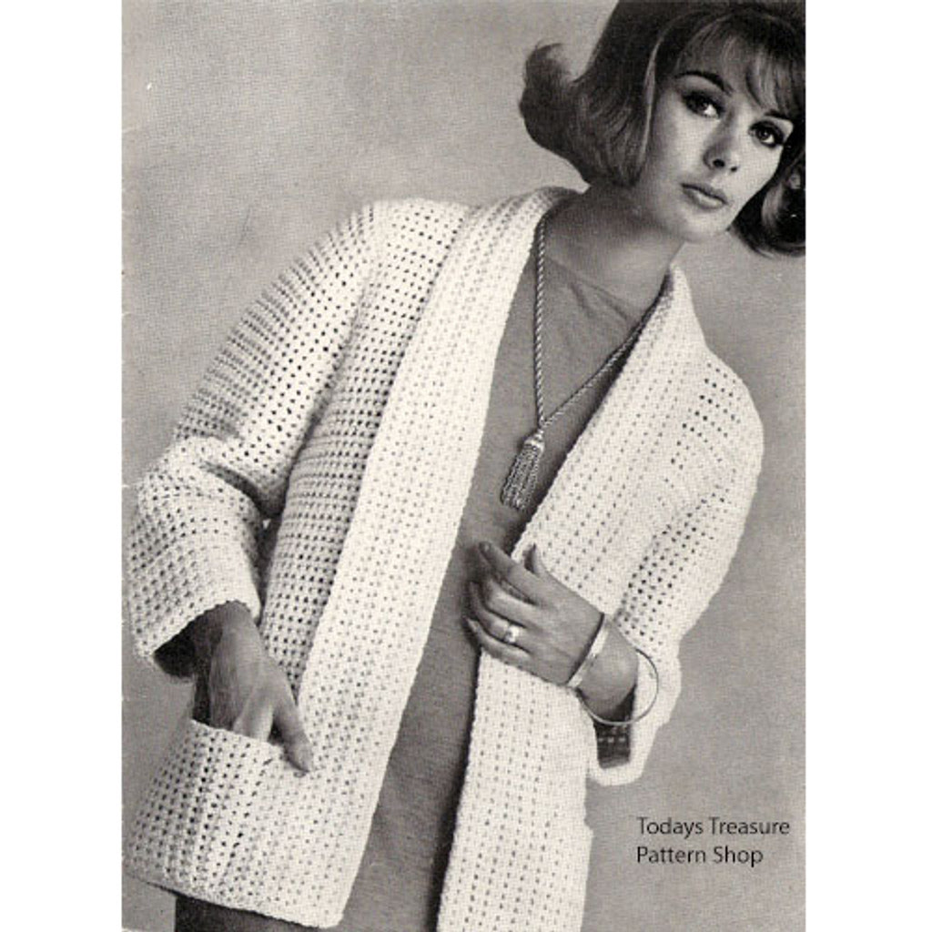 Easy Crochet Cardigan Pattern, Shawl Collar Pockets