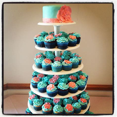 Teal & Coral Wedding Cupcake Tower love the idea of