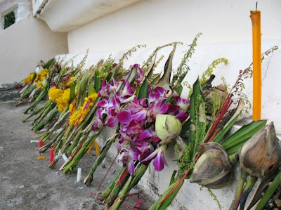 Flowers from a recent funeral at Kosit Wiharn Temple