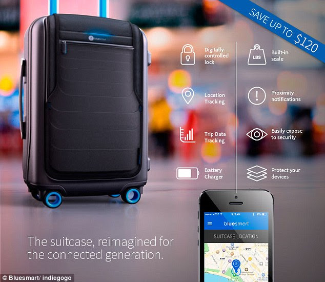 Bluesmart is a carry-on suitcase that can be controlled solely from your phone, which it can also recharge