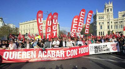 Manifestación sindical, hace tres meses, en el centro de Madrid.