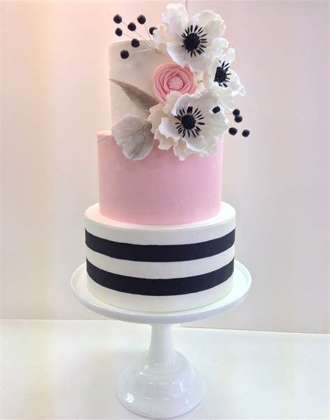 Pink Black and White Striped Wedding Cake with Sugar