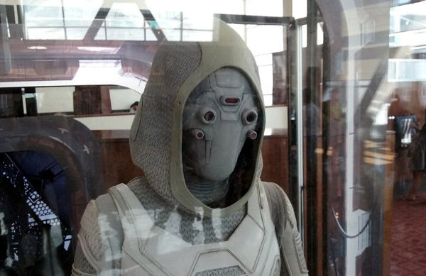The Ghost costume worn by Hannah John-Kamen in ANT-MAN AND THE WASP...on display in Hollywood on July 8, 2018.