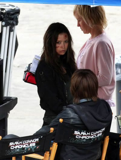 Summer Glau on the set of TERMINATOR: THE SARAH CONNOR CHRONICLES.
