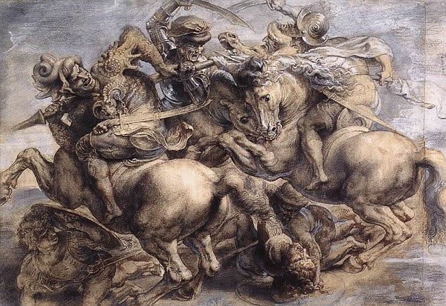 A Batalha de Anghiari como pintado por Ruben e pendurado no museu do Louvre