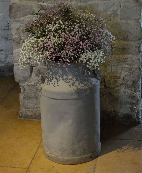 Milk churn filled with pretty pink and white gypsophila