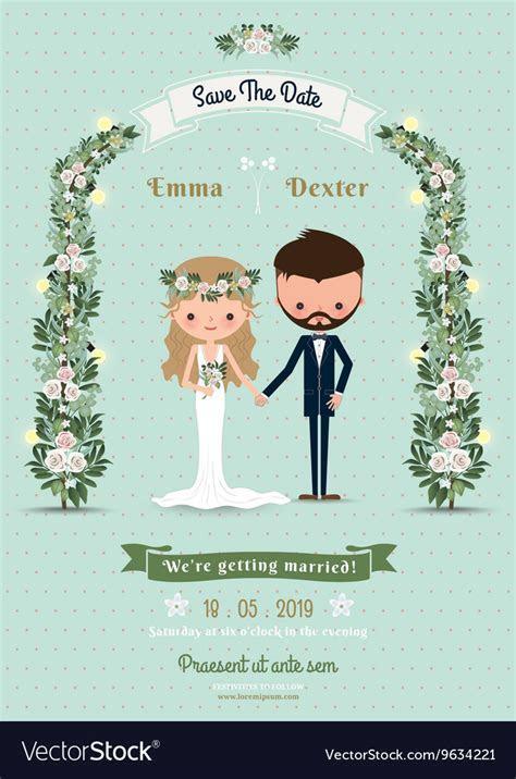 Hipster wedding invitation card bride groom Vector Image