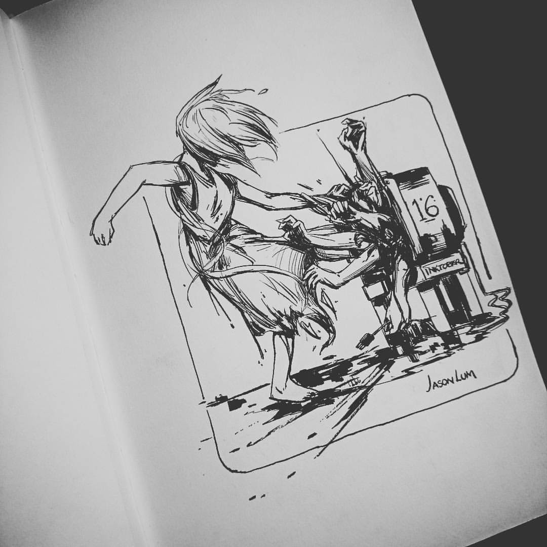 #inktober 16 📺 #television #hands #horror #creepy #ink #art #artistsoninstagram #sketch   #sketchbook #girl #blackandwhite #limbs #drawlloween