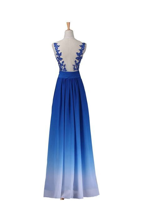A line Sleeveless Floor Length Royal Blue Ombre Chiffon