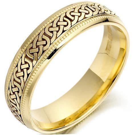 Irish Wedding Ring   Mens Gold Celtic Knots Beaded Wedding