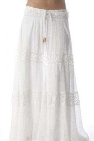 long white skirt   Mijo Long Hippie Skirt in White Profile