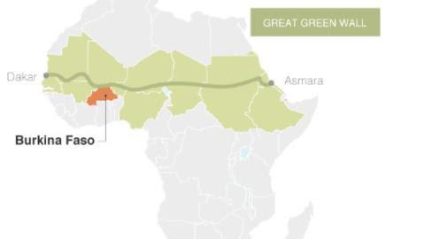 7000 KM LANG: Muren skal strekke seg på tvers av hele det afrikanske kontinentet. Illustrasjon: Ecosia