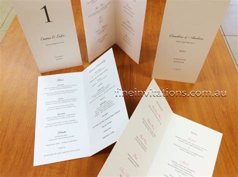 Elegant printed wedding menu cards   Fine Invitations Sydney