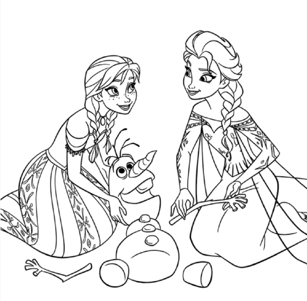 Coloriage de princesse  imprimer gratuit Anna Elsa et Olfa