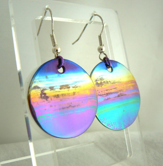 Earrings, Round, Titanium, Landscape