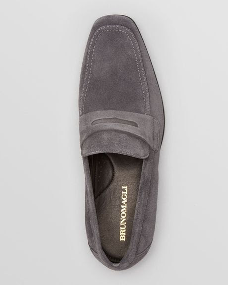 Bruno Magli Millonia Suede Penny Loafers in Gray for Men ...