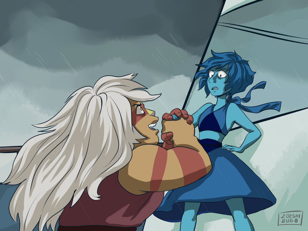 did one of them screencap redraws i honestly enjoyed this episode so much, maybe my next doodle will be lapis water punching jasper the fuck away into the ocean!!!