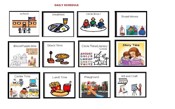 Pre K Daily Schedule Pictures | Daily Planner
