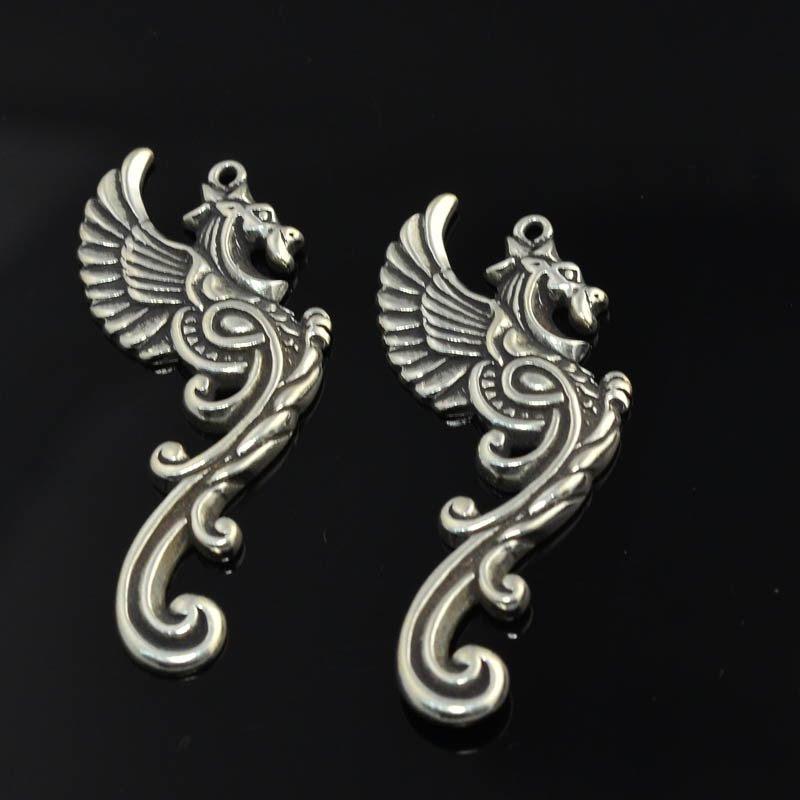 s45352 Charm/Pendant -  Fancy Dragon - Sterling Silver (1)
