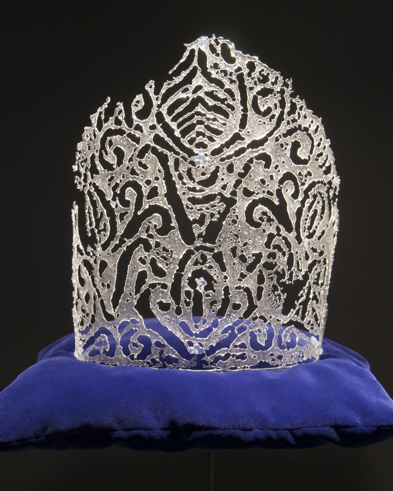Kiln-fired glass crowns by Kate Clements