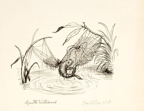 fish tangled in web with spider just above water (rudimentary b&w book illustration design sketch)