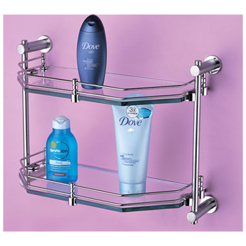 Buy Tantrum Double Glass Shelf Stainless Steel Finish Online In