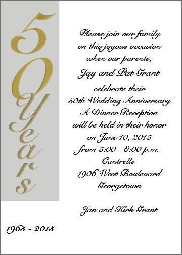 Golden 50th Anniversary Wedding Invitation Cards (Item #
